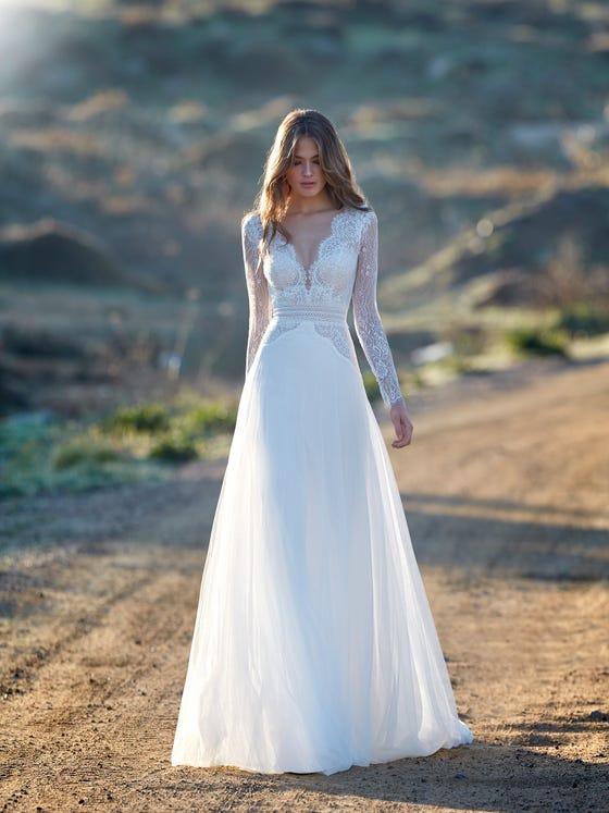 parte delantera vestido novia evasé alisi