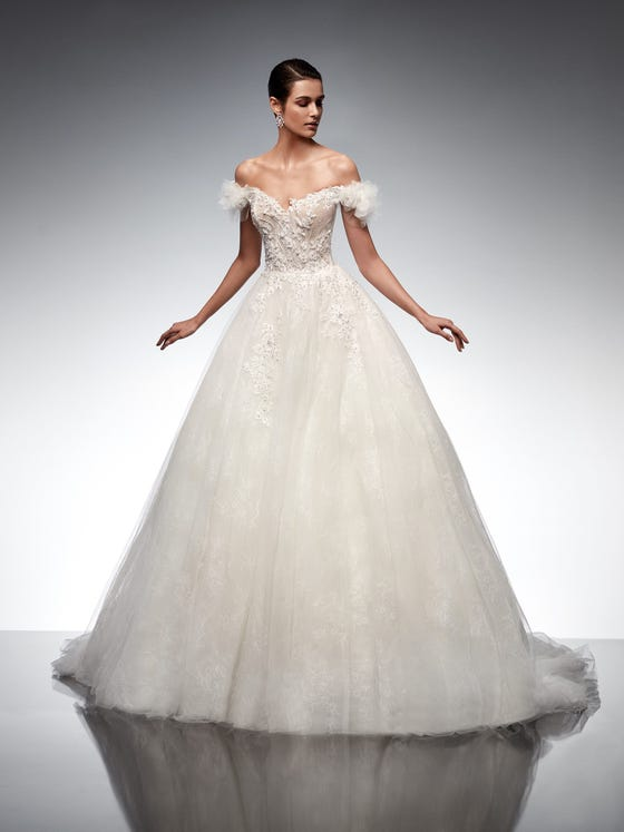 parte delantera vestido novia princesa escote corazon tul alphard