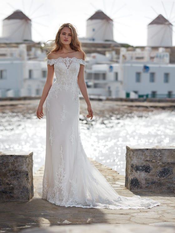 parte delantera vestido novia evasé argentea
