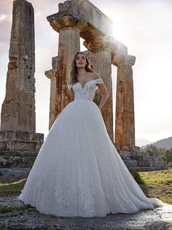 parte delantera vestido novia princesa espalda descubierta arianna