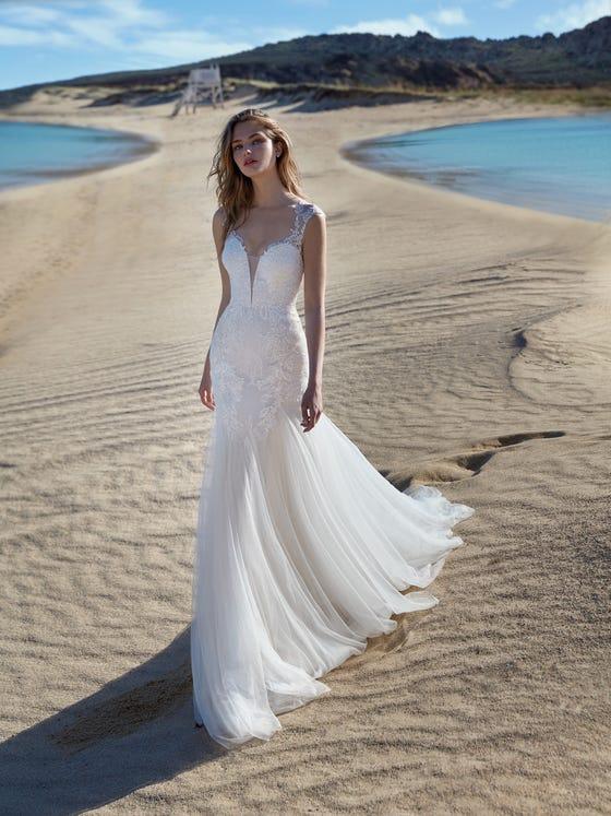 parte delantera vestido novia Sirena audora