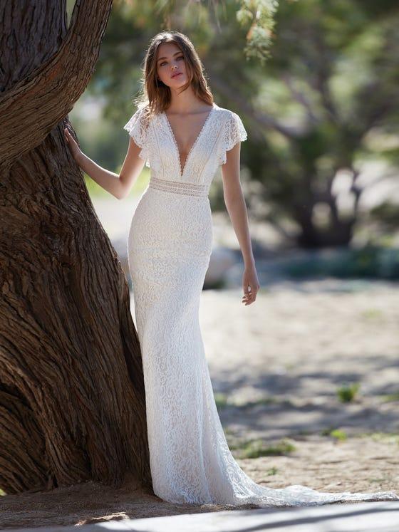 parte delantera vestido novia Sirena auster