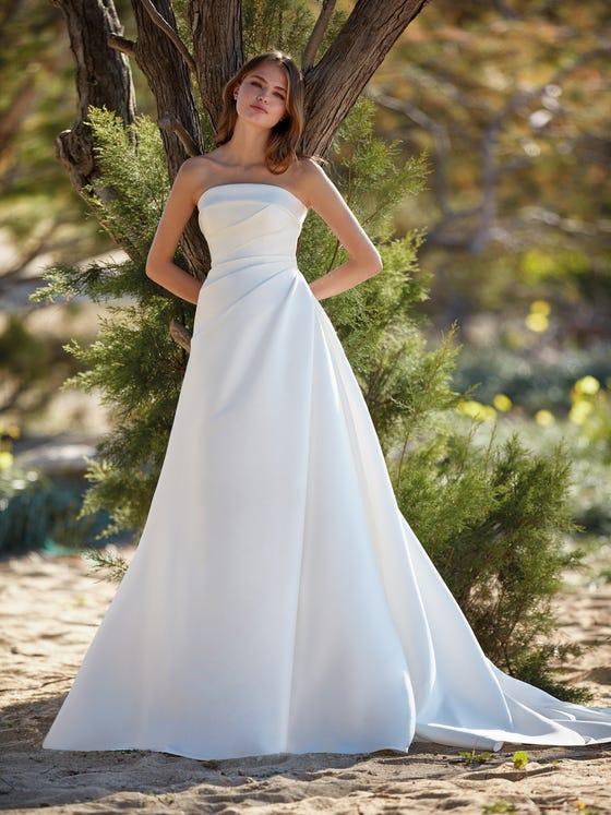 parte delantera vestido novia a line brunale
