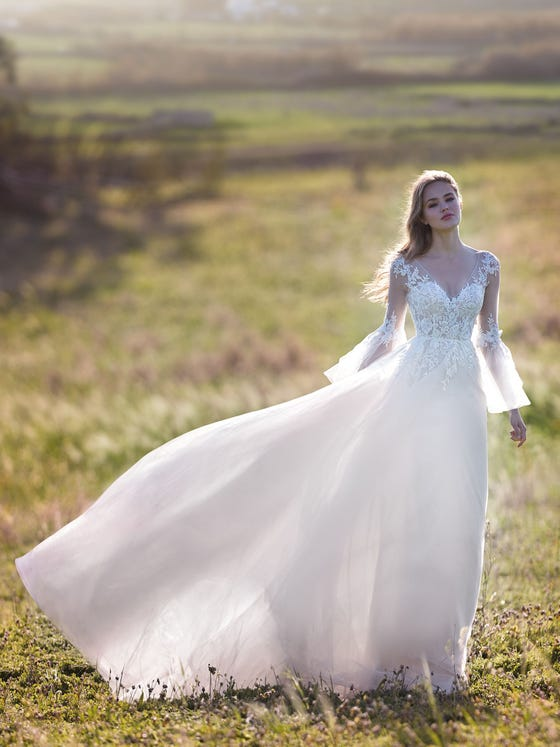 parte delantera vestido novia a line chrisell
