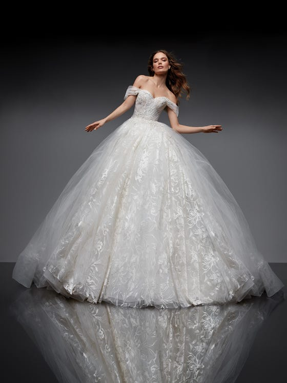parte delantera vestido novia princesa escote corazon tul dubhe