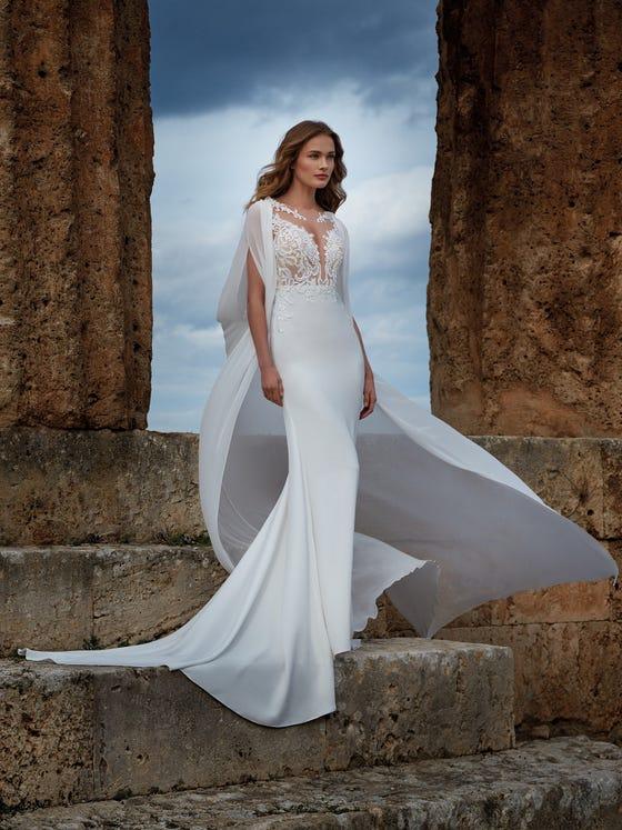 parte delantera vestido novia sirena crepe ebe