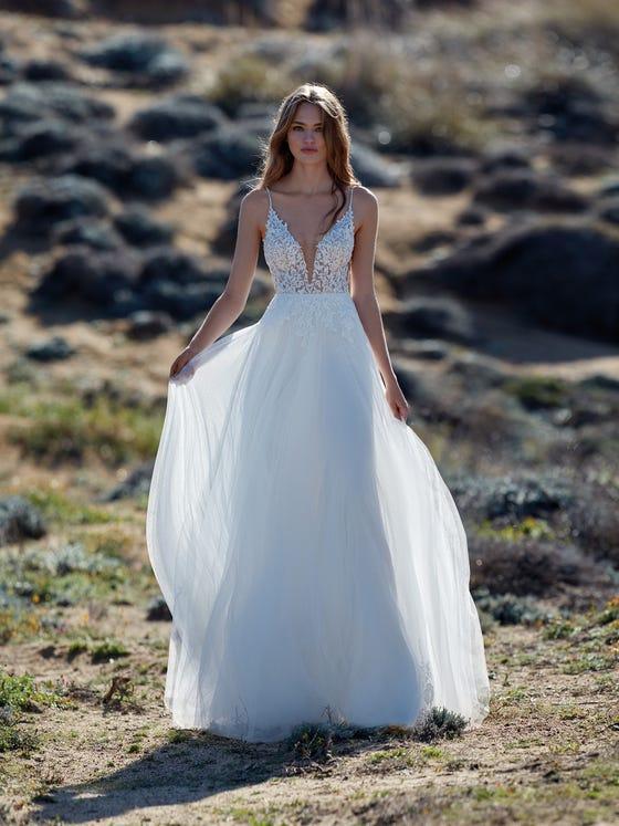parte delantera vestido novia evasé garbino