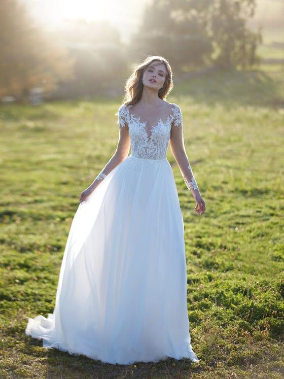 parte delantera vestido novia evasé ghibli
