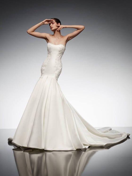 parte delantera vestido novia sirena escote corazon mikado iolite