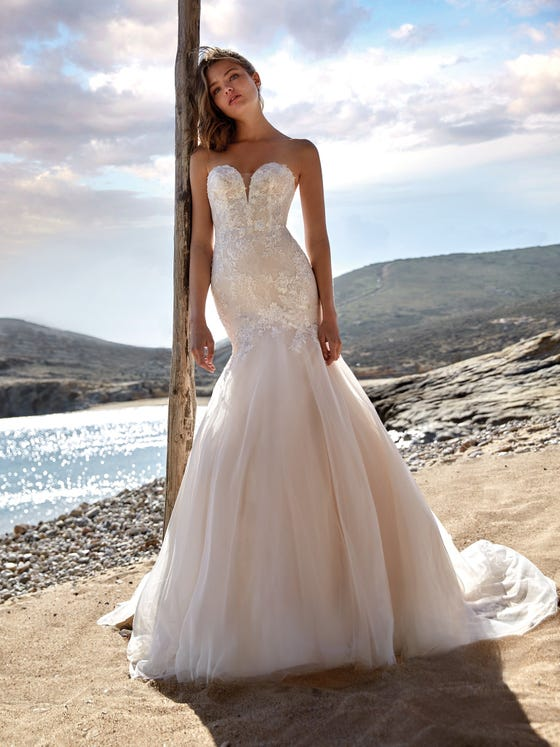 parte delantera vestido novia Sirena jugo