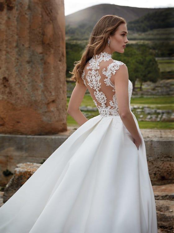 detalle delantero vestido novia princesa maat
