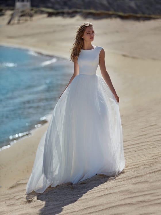 parte delantera vestido novia evasé musa