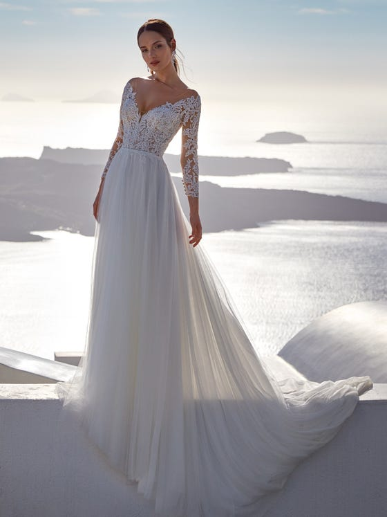 parte delantera vestido novia evasé obira