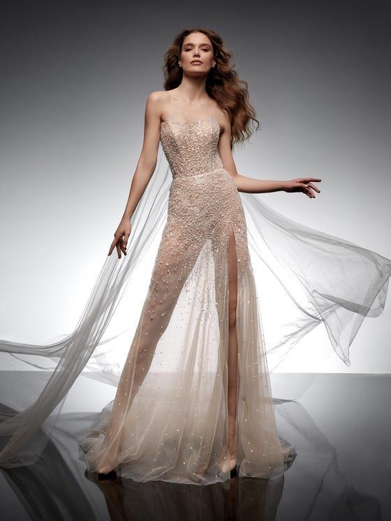 parte delantera vestido novia recto perla