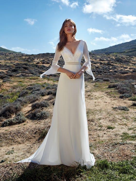 parte delantera vestido novia evasé ponente